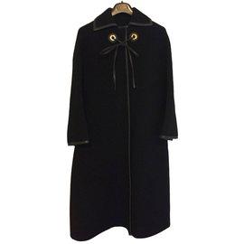 Hermès-Manteau cape vintage Hermès-Noir