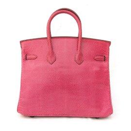 Hermès-Sac à main Hermès Birkin 25 Lézard Fuchsia-Rose