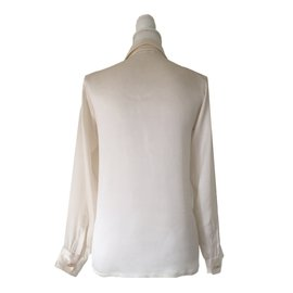 Yves Saint Laurent-Yves Saint Laurent - Blouse Chemise en Satin-Blanc