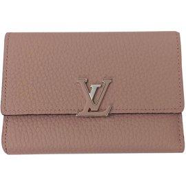 Louis Vuitton-Portefeuille Capucines-Rose,Beige