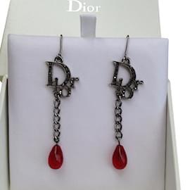 Dior-Boucles d'oreilles pendantes DIOR-Argenté,Autre