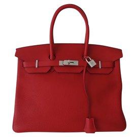 Hermès-SAC HERMES BIRKIN ROUGE 35-Rouge
