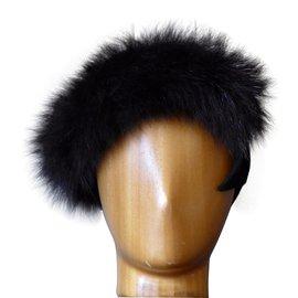 Lanvin-Chapeau LANVIN en feutre de laine noir et fourrure noire –-Noir