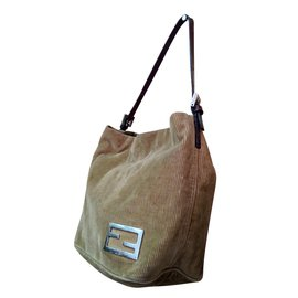 Fendi-sac à main corduroy & cuir-Beige