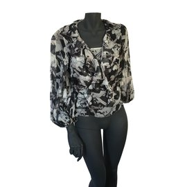 Chanel-Silk Top and blouse-Black,Beige,Grey,Flesh