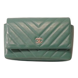 Chanel-Chanel Small Chevron Wallet On Chain-Green