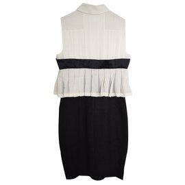 Chanel-Chanel black and cream pencil dress-Black,Cream