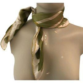 Burberry-Silk scarves-Beige,Green