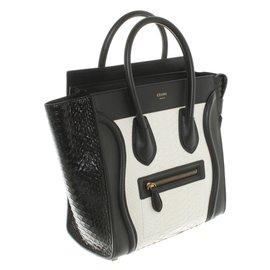 Céline-miclo luggage python white black-Noir,Blanc
