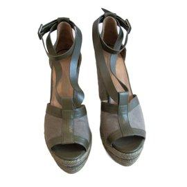 Hermès-Mules compensées-Vert olive