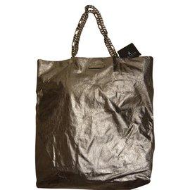 Lanvin-Superbe sac cabas mou LANVIN argenté (défilé 2015) neuf avec étiquète-Argenté