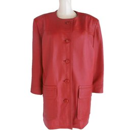 Givenchy-Manteau cuir-Rouge