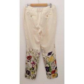 Gucci-Pantalons-Écru