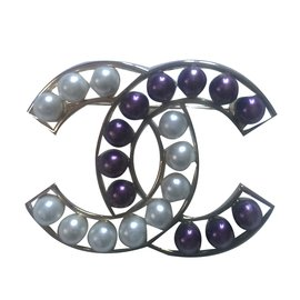 Chanel-Pins & brooches-White,Golden,Prune