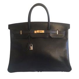 Hermès-Birkin 40 Black Box GHW-Noir