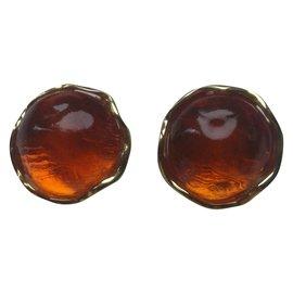 Yves Saint Laurent-YSL   Boucles d'oreilles  minimalistes vintage.-Cognac