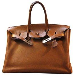 Hermès-Birkin 35 cuir Togo gold finition métal argenté-Autre