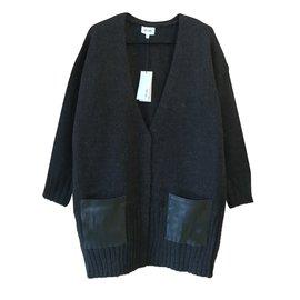 Bel Air-gilet Glace laine & cuir-Noir