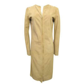 Loewe-Loewe Deerskin Suede Leather Dress-Beige