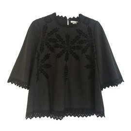 Isabel Marant Etoile-blouse brodée-Noir