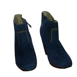 Hermès-Boots à talon-Bleu