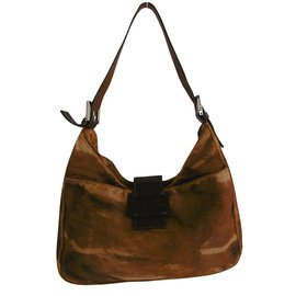Fendi-Fendi Calfskin Leather Shoulder Bag-Brown,Beige,Dark brown