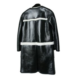 Louis Vuitton-Manteau en cuir d'agneau et mouton-Noir