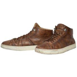 Santoni-Q120 santoni sneakers montants cuir marron t.43.5 taille santoni  9.5-Caramel ... 8b3e37e6617