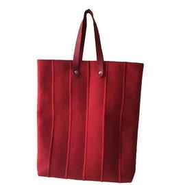 Hermès-cabas en lainage-Rouge