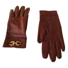 Hermès-HERMES  7  1/2 gloves-Dark red