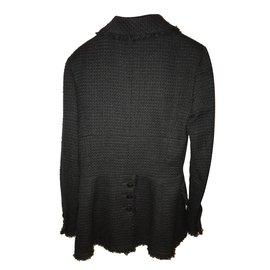 Chanel-Veste  tweed avec  poches-Noir