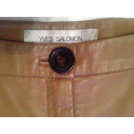Yves Salomon-Pantalon cuir-Beige