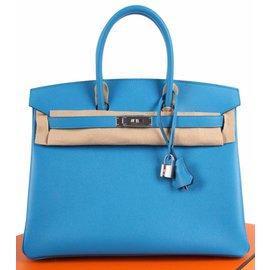 Hermès-Birkin Epsom 35 Bleu Zanzibar Palladium Hardware - blue-Blue