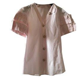 Chanel-Chemise rose pâle originale , féminine,mincit ,allongé la silhouette-Rose