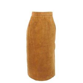 Hermès-Jupe taille haute en suede-Marron