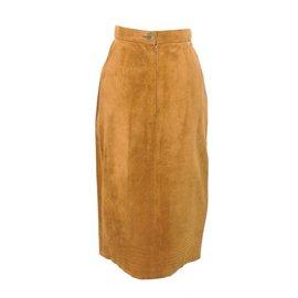 Hermès-Hermes High Waist Pigskin Suede Leather Skirt-Brown
