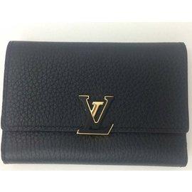 Louis Vuitton-Superbe Portefeuille Louis Vuitton Capucines Compact noir neuf !-Noir,Rose