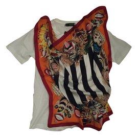 Dsquared2-T-shirt empiècement en soie-Autre