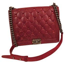 0c6c37036b4e Chanel-Boy medium plus nubuck-Dark red ...