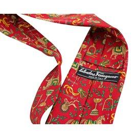 Salvatore Ferragamo-Cravates-Multicolore,Bordeaux