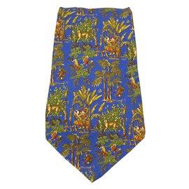 Salvatore Ferragamo-Cravates-Bleu,Multicolore