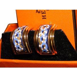 Hermès-clips d'oreille-Bleu,Doré