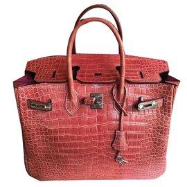 Hermès-Birkin 35 croco-Rose