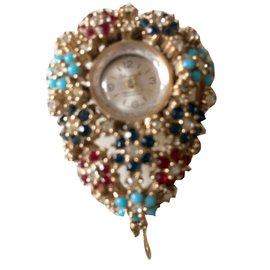 Autre Marque-Vintage rare beau pendentif montre-Multicolore