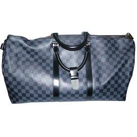 Louis Vuitton-Keepall 55 cm toile damier graphite-Noir,Gris