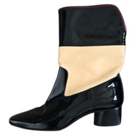 Chanel-Ankle Boots-Black,Beige