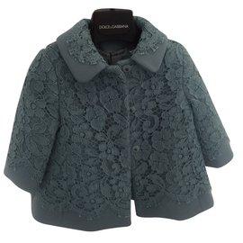 Dolce & Gabbana-Blousons, manteaux filles-Bleu