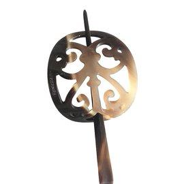 Hermès-Pique à chignon-Marron