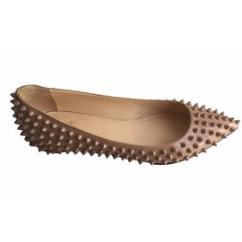 Christian Louboutin-Pigalle spikes flats-Beige