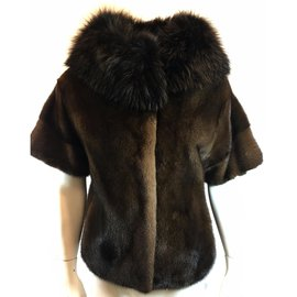 Yves Salomon-Mink jacket fox collar-Brown